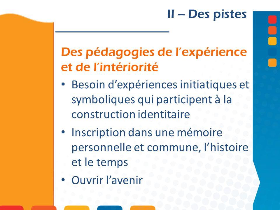 Des pédagogies de l'expérience et de l'intériorité