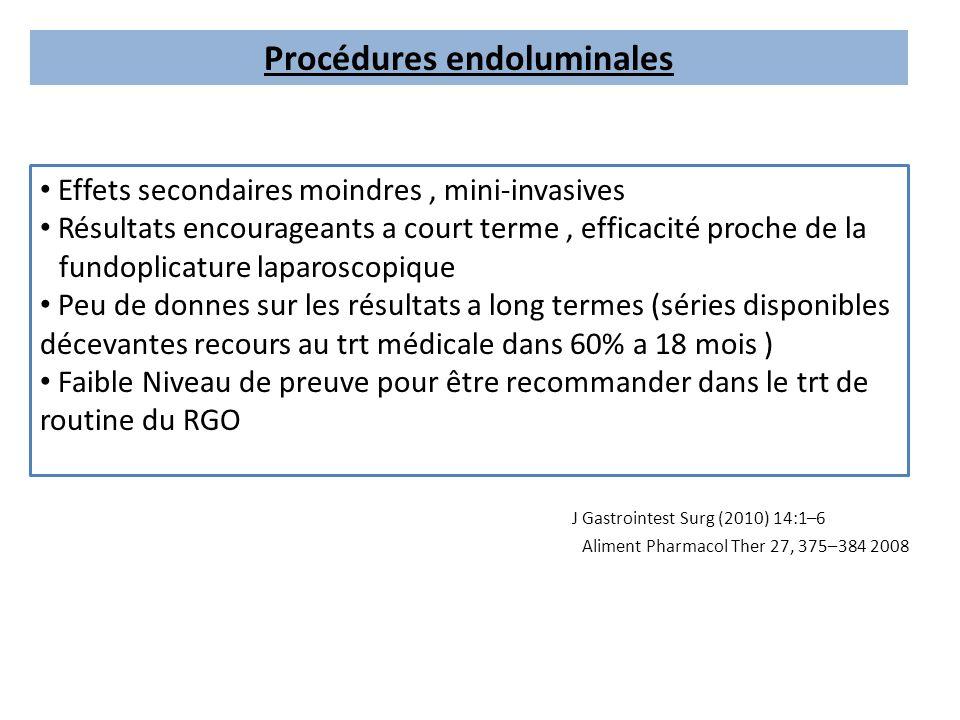 Procédures endoluminales