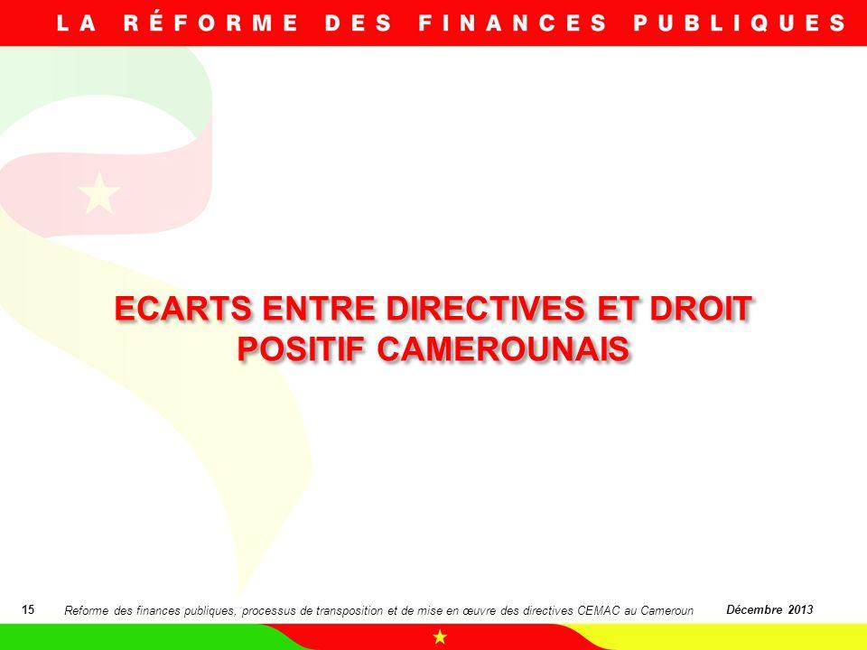 ECARTS ENTRE DIRECTIVES ET DROIT POSITIF CAMEROUNAIS