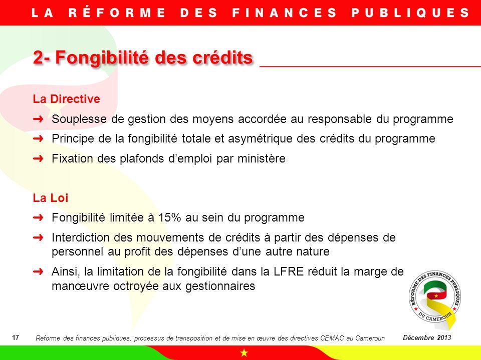2- Fongibilité des crédits