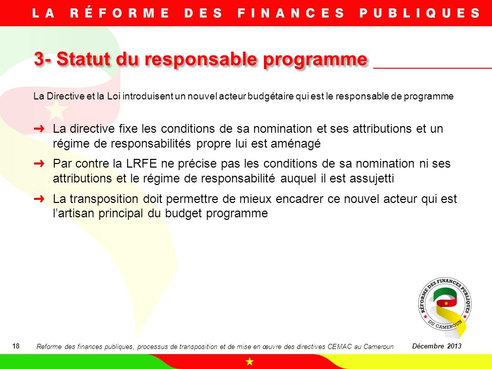 3- Statut du responsable programme