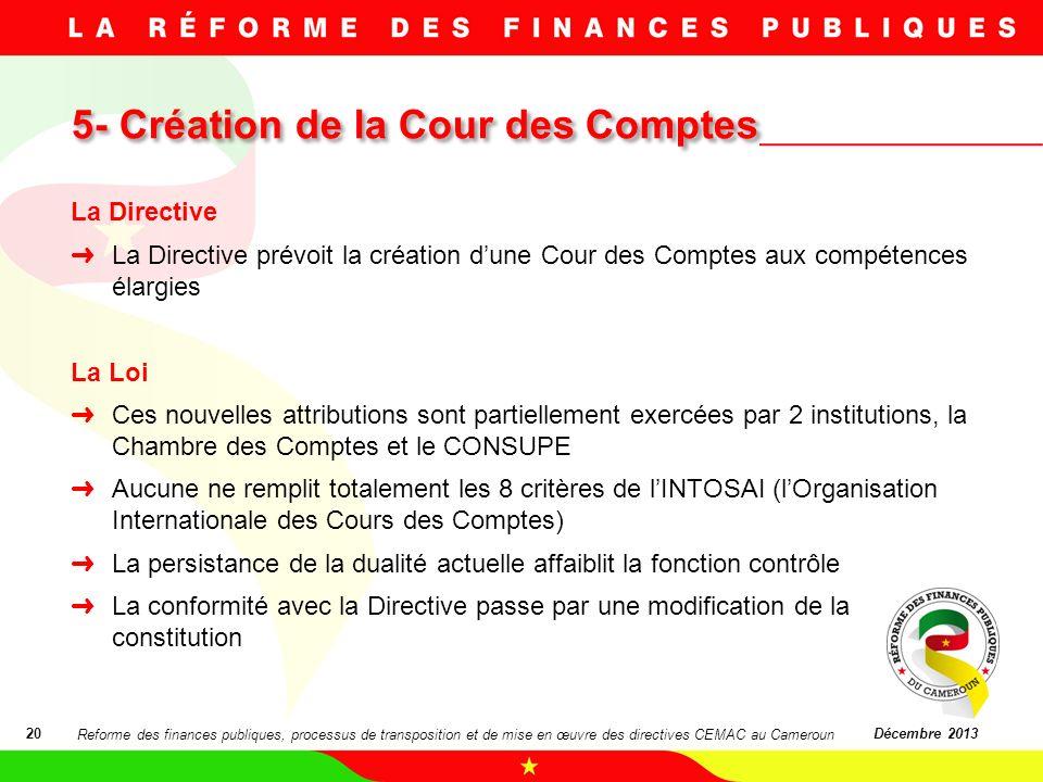 5- Création de la Cour des Comptes