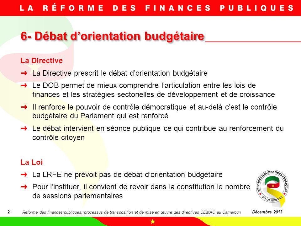 6- Débat d'orientation budgétaire