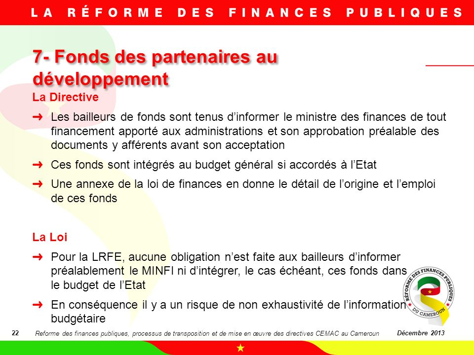 7- Fonds des partenaires au développement
