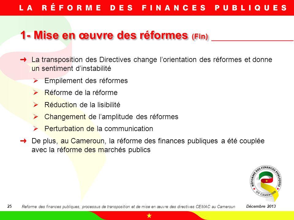 1- Mise en œuvre des réformes (Fin)