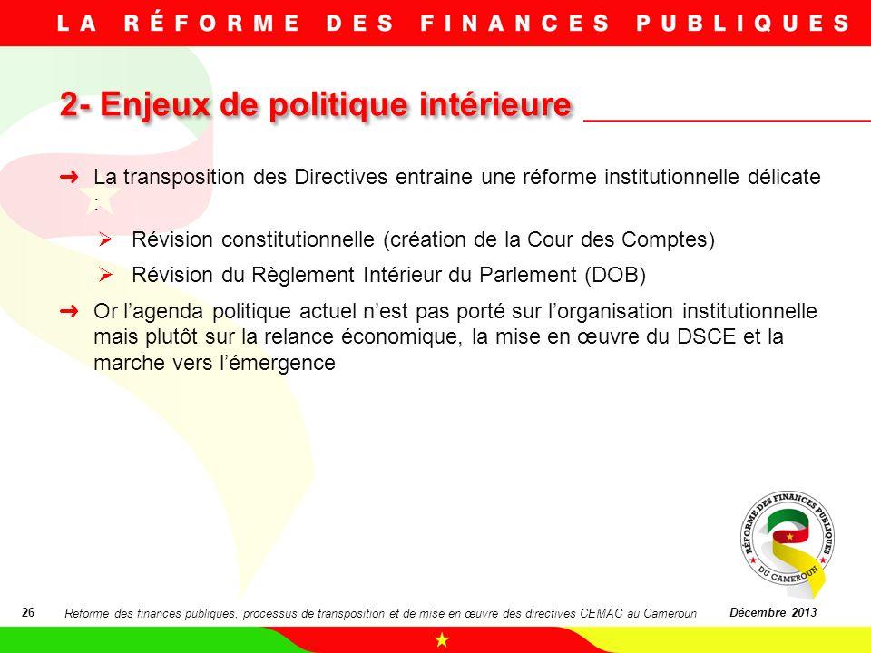 2- Enjeux de politique intérieure