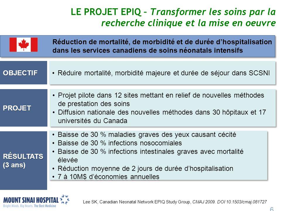 LE PROJET EPIQ – Transformer les soins par la recherche clinique et la mise en oeuvre