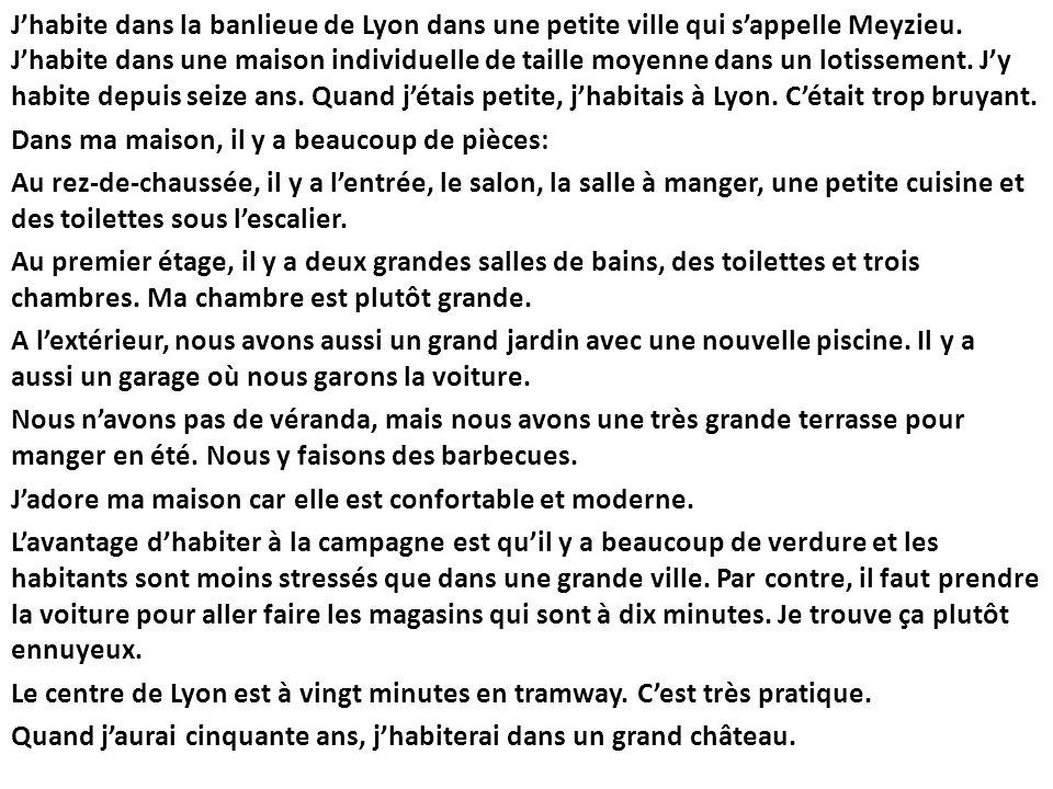 J'habite dans la banlieue de Lyon dans une petite ville qui s'appelle Meyzieu.