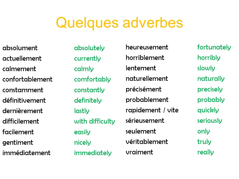 Quelques adverbes heureusement fortunately