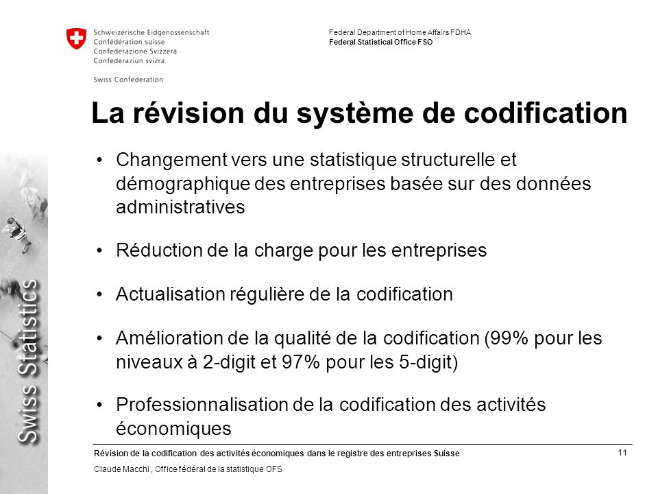 La révision du système de codification