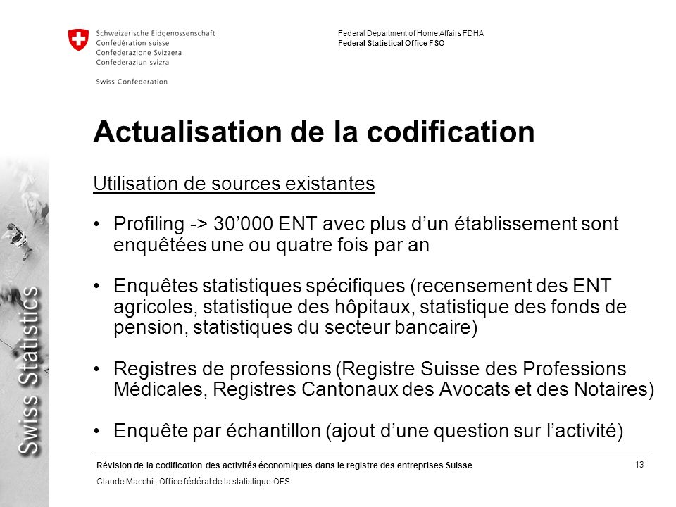 Actualisation de la codification