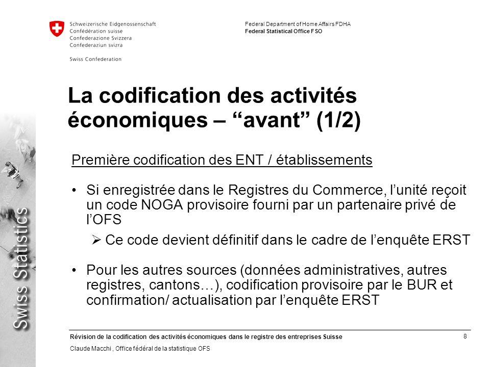 La codification des activités économiques – avant (1/2)