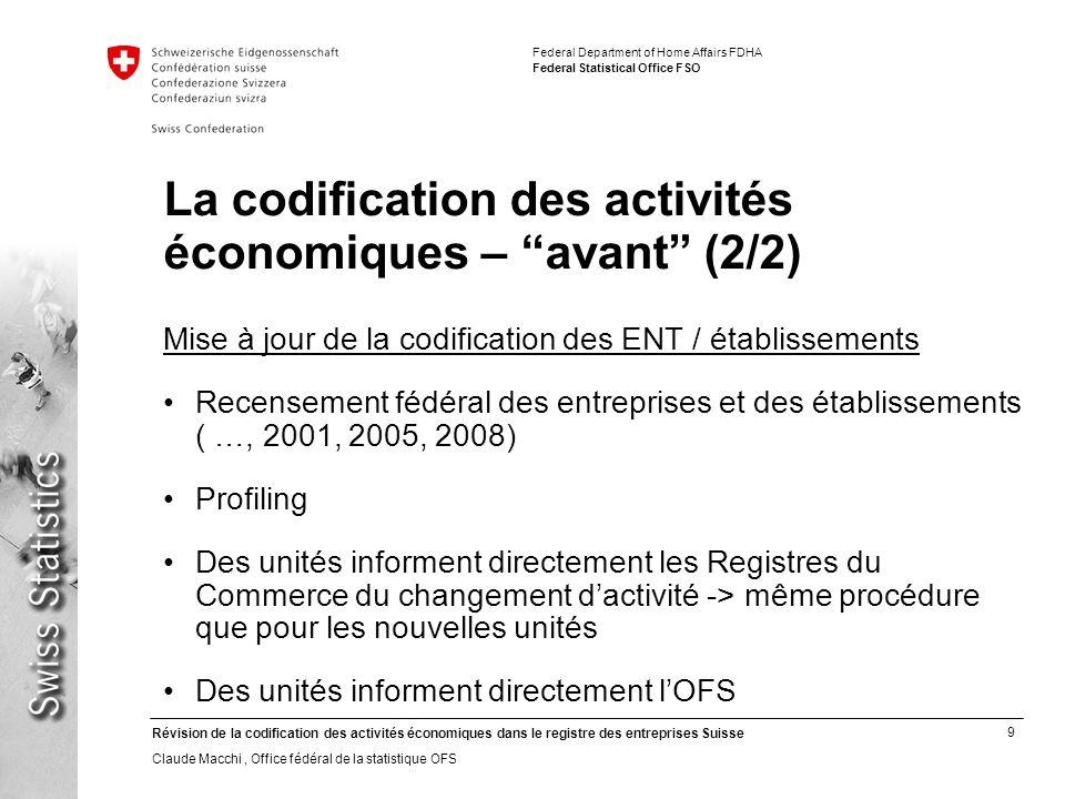 La codification des activités économiques – avant (2/2)