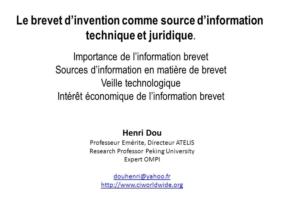 Le brevet d'invention comme source d'information