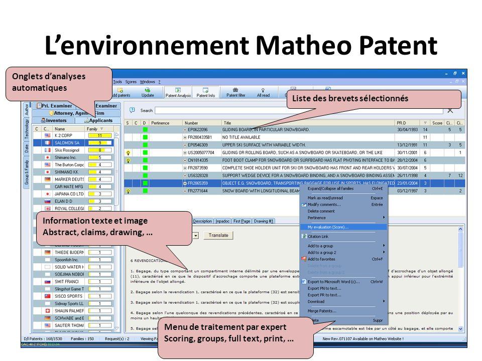 L'environnement Matheo Patent