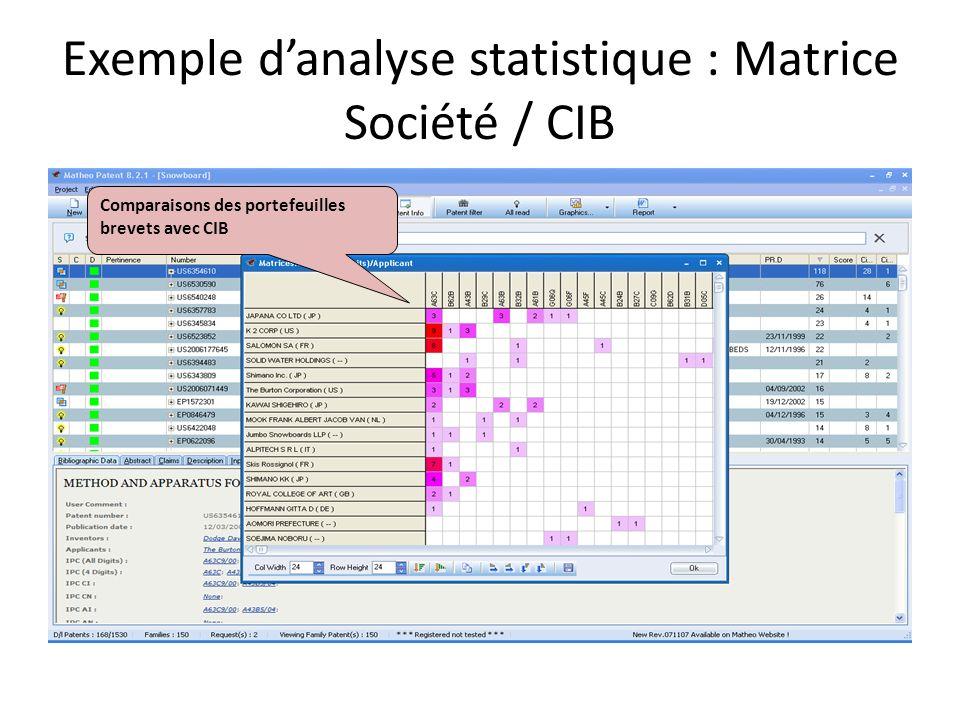 Exemple d'analyse statistique : Matrice Société / CIB