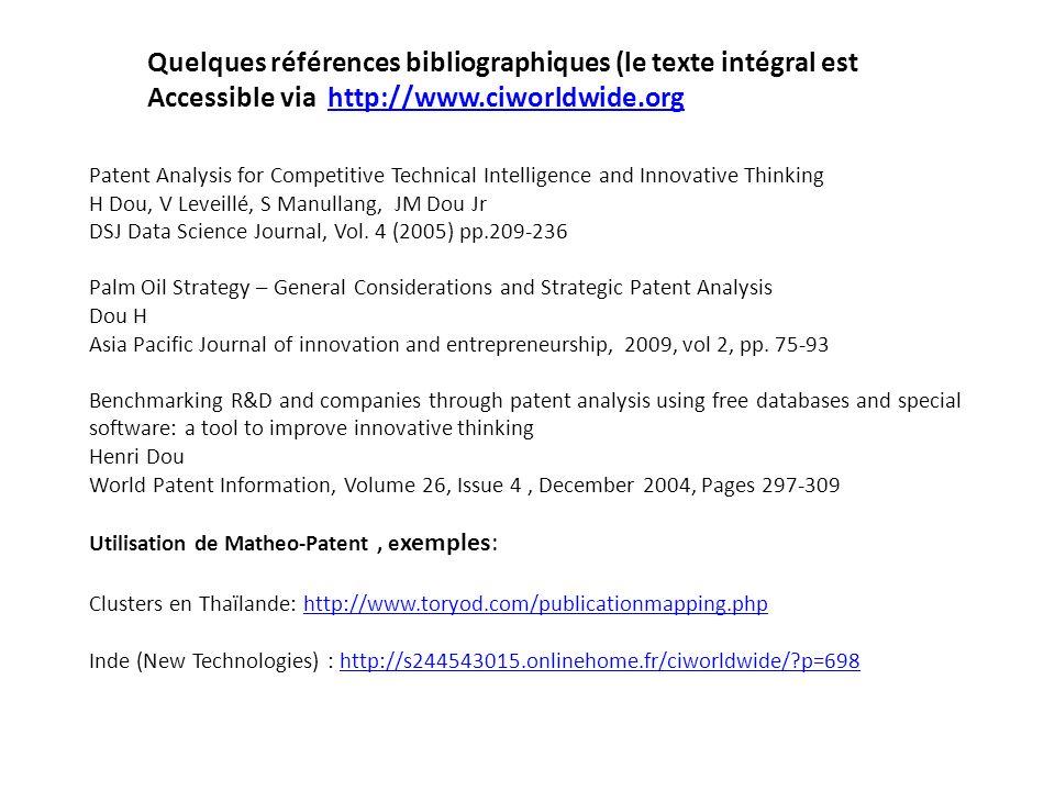 Quelques références bibliographiques (le texte intégral est
