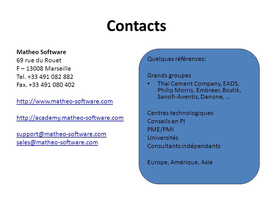 Contacts Matheo Software 69 rue du Rouet Quelques références: