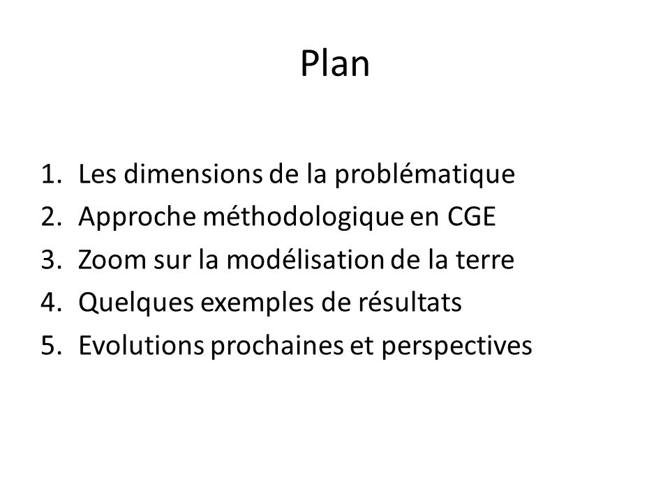 Plan Les dimensions de la problématique Approche méthodologique en CGE