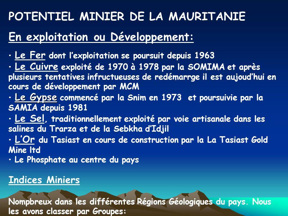 POTENTIEL MINIER DE LA MAURITANIE En exploitation ou Développement: