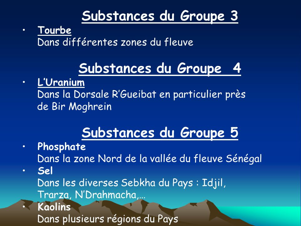 Substances du Groupe 3 Substances du Groupe 4 Substances du Groupe 5