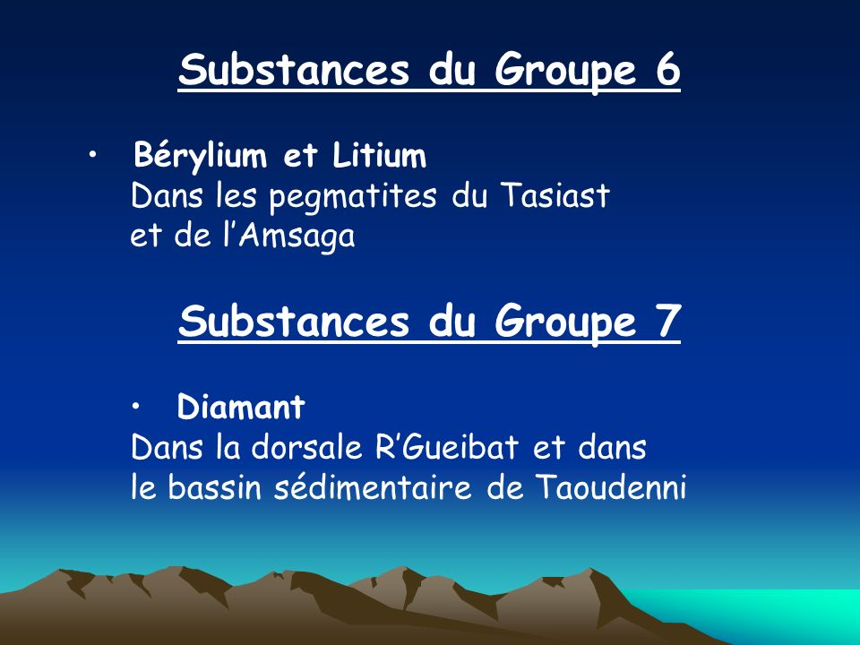 Substances du Groupe 6 Substances du Groupe 7