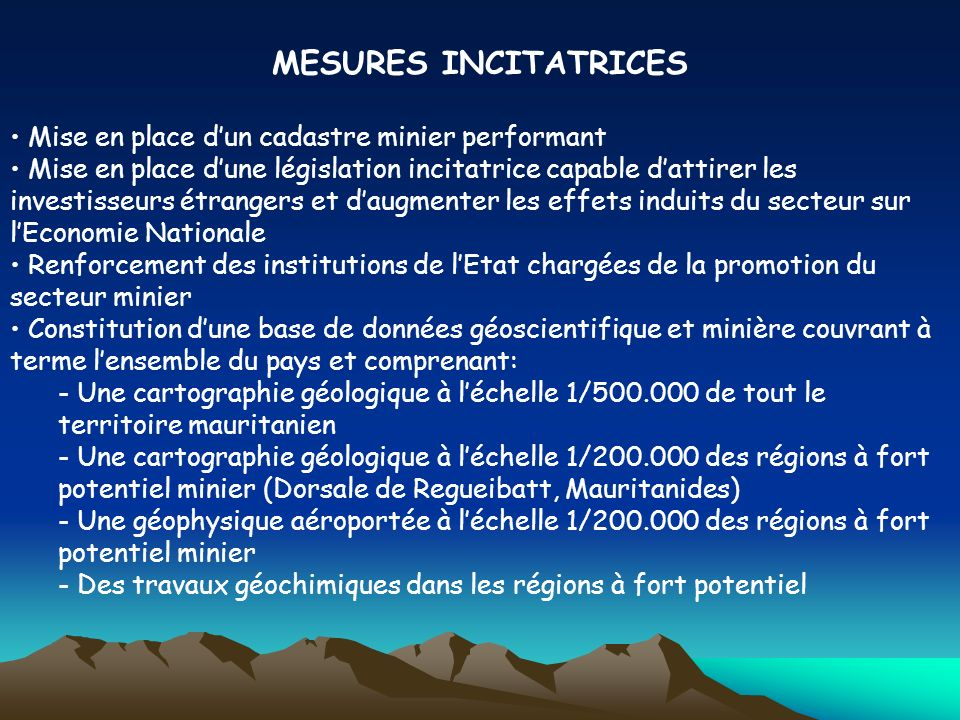 MESURES INCITATRICES Mise en place d'un cadastre minier performant