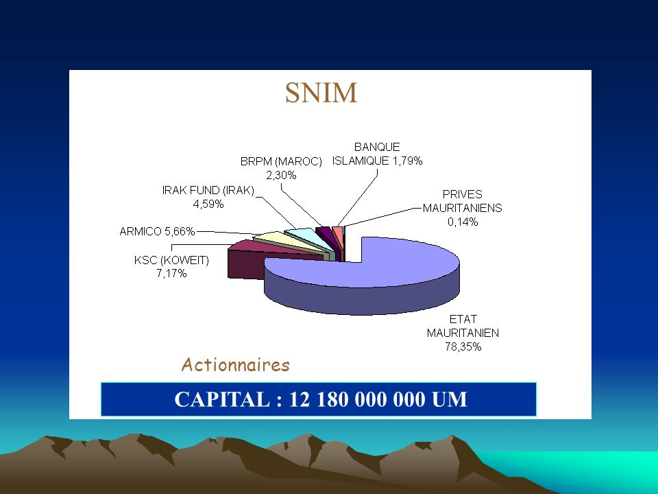 SNIM Actionnaires CAPITAL : 12 180 000 000 UM