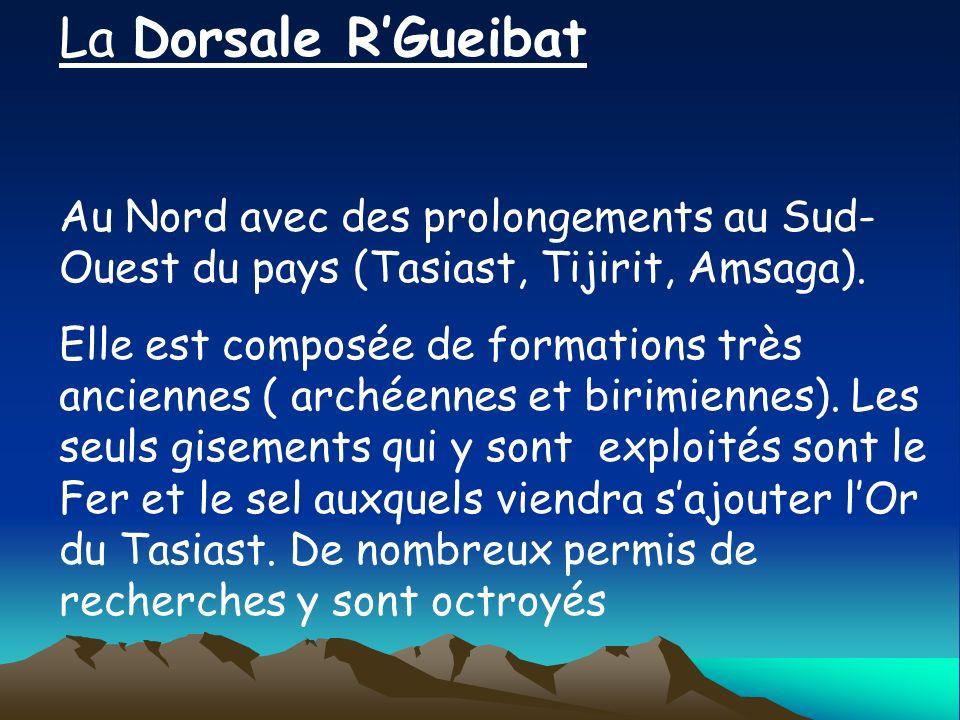 La Dorsale R'Gueibat Au Nord avec des prolongements au Sud-Ouest du pays (Tasiast, Tijirit, Amsaga).