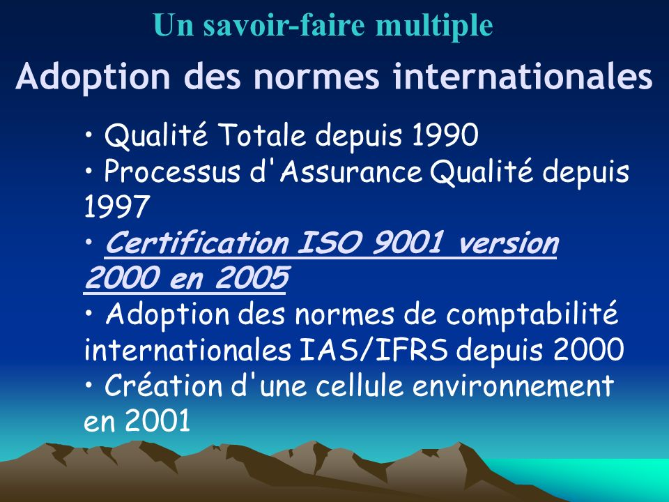 Adoption des normes internationales