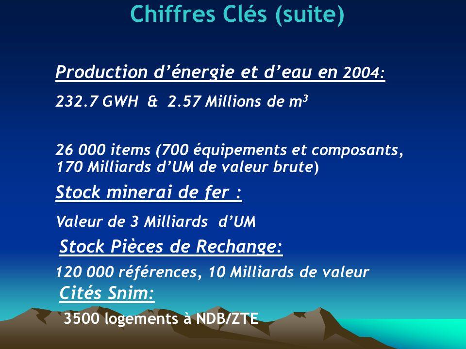 Chiffres Clés (suite) Production d'énergie et d'eau en 2004: