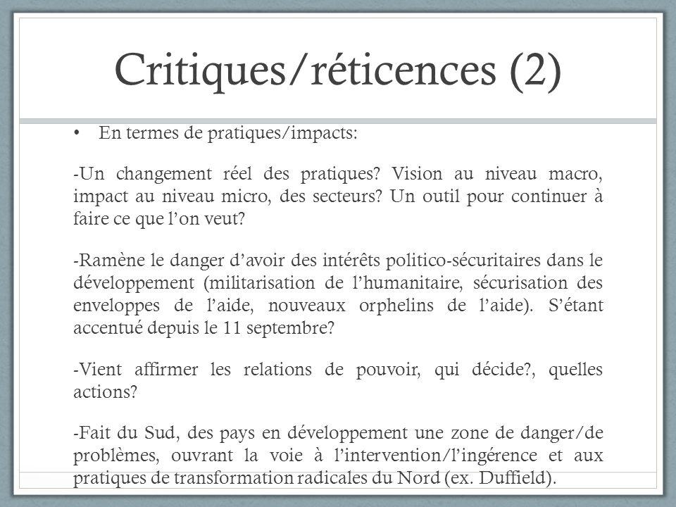 Critiques/réticences (2)