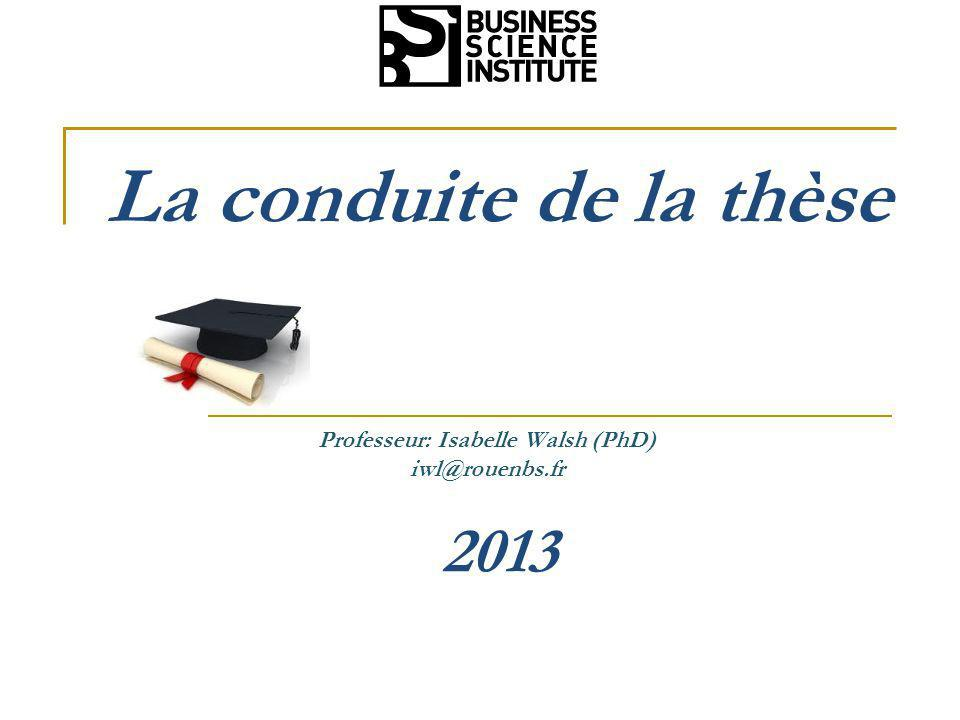 Professeur: Isabelle Walsh (PhD)