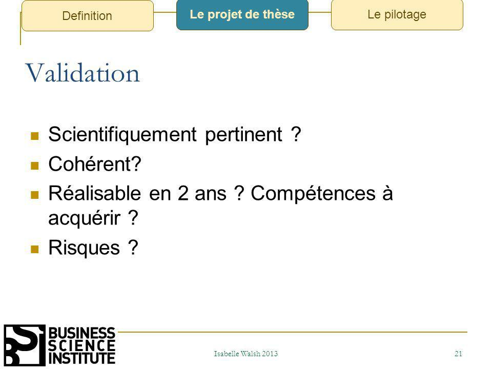 Validation Scientifiquement pertinent Cohérent