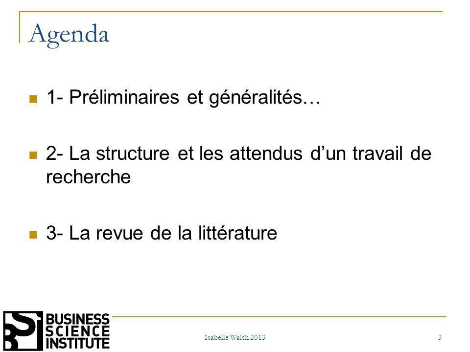 Agenda 1- Préliminaires et généralités…