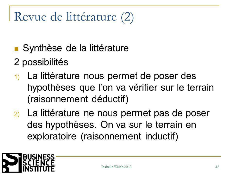 Revue de littérature (2)