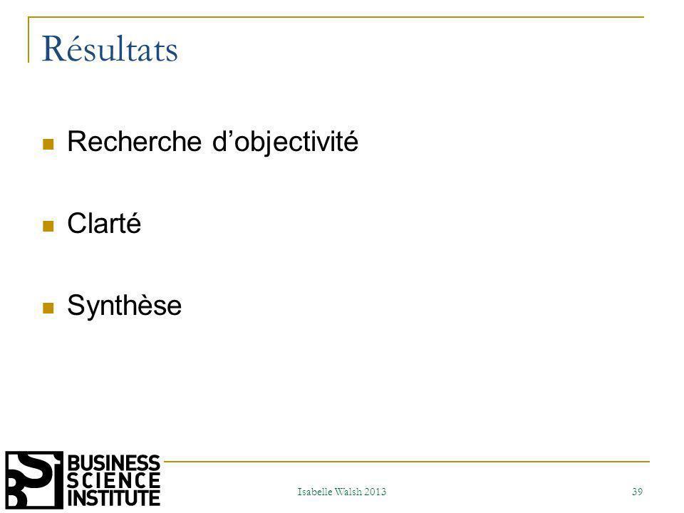 Résultats Recherche d'objectivité Clarté Synthèse Isabelle Walsh 2013