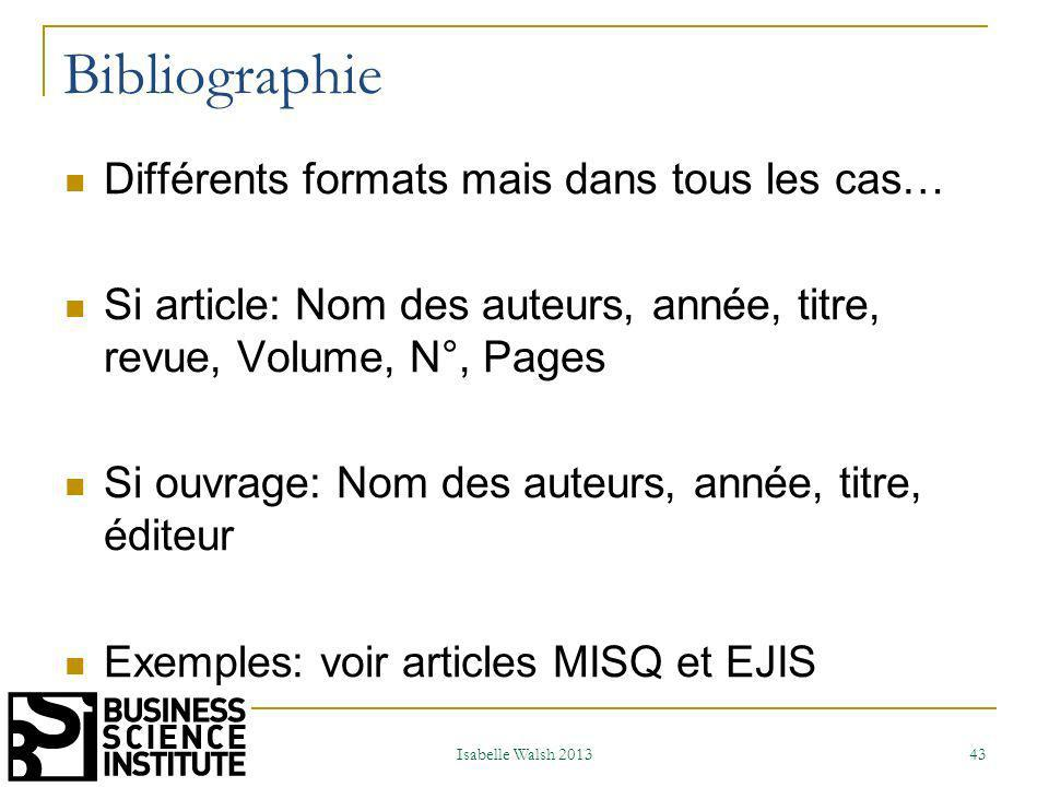 Bibliographie Différents formats mais dans tous les cas…