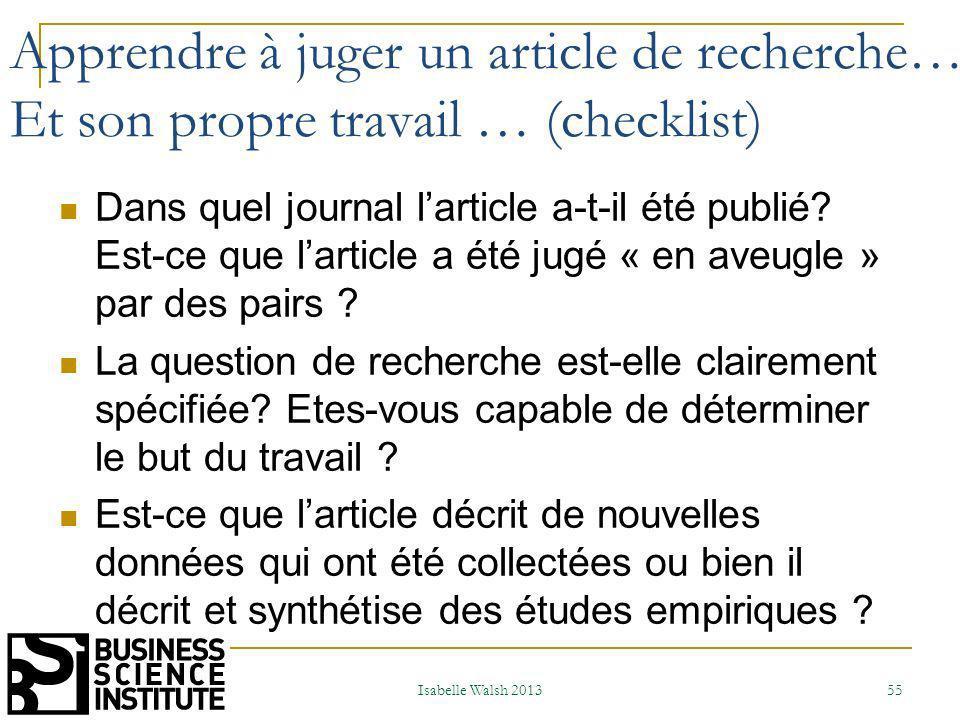 Apprendre à juger un article de recherche…