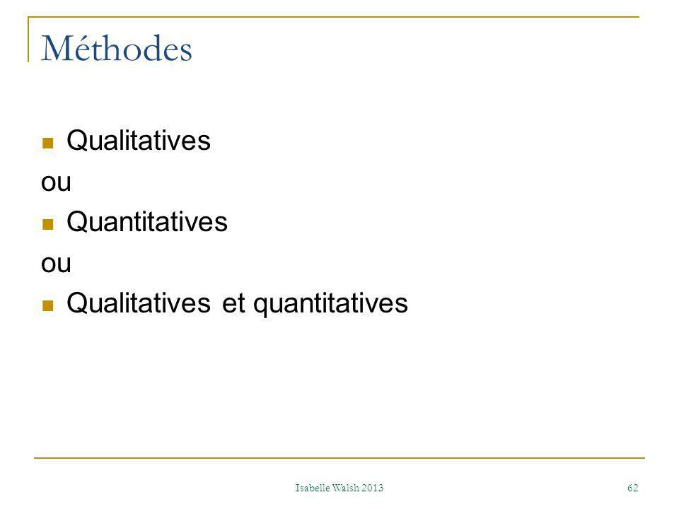 Méthodes Qualitatives ou Quantitatives Qualitatives et quantitatives