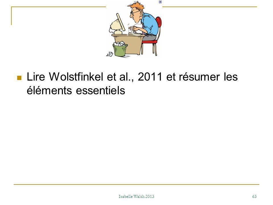 Lire Wolstfinkel et al., 2011 et résumer les éléments essentiels