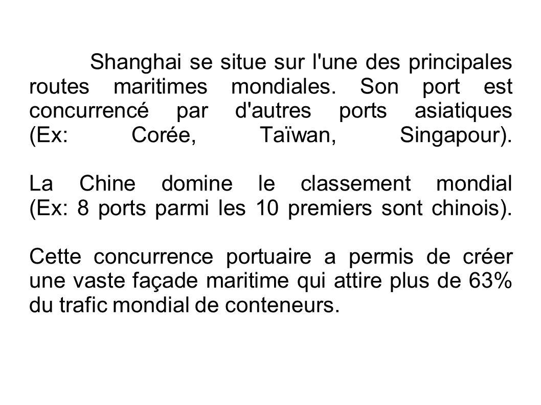Shanghai se situe sur l une des principales routes maritimes mondiales