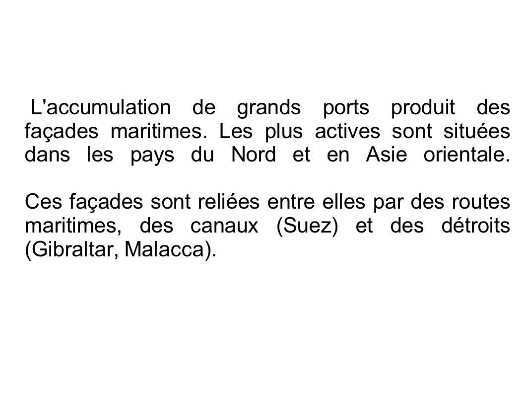 L accumulation de grands ports produit des façades maritimes