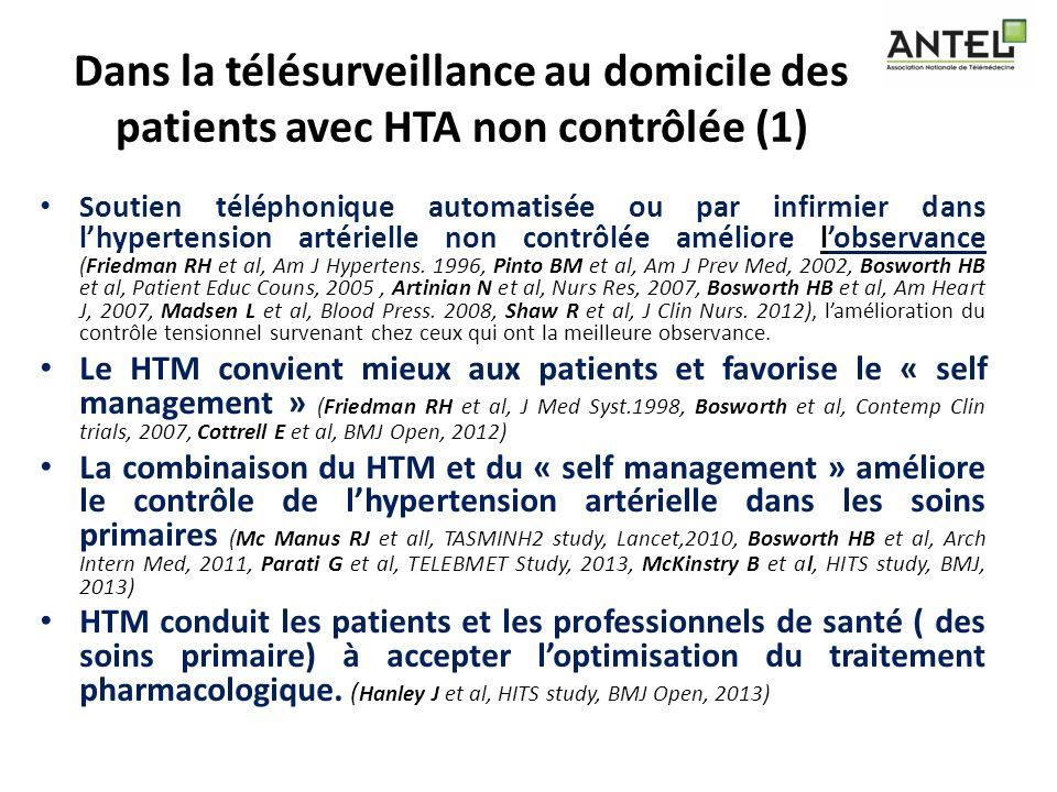 Dans la télésurveillance au domicile des patients avec HTA non contrôlée (1)