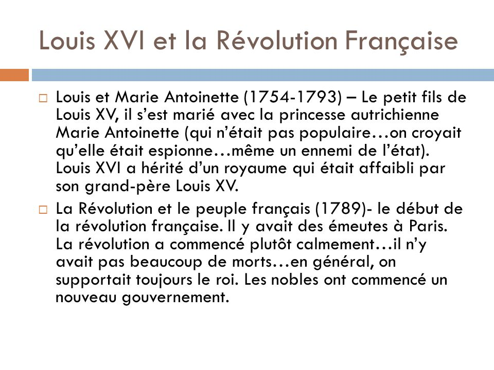 Louis XVI et la Révolution Française