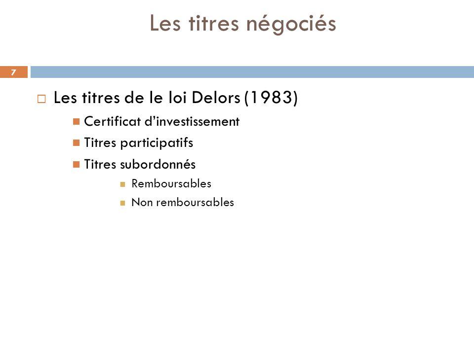 Les titres négociés Les titres de le loi Delors (1983)