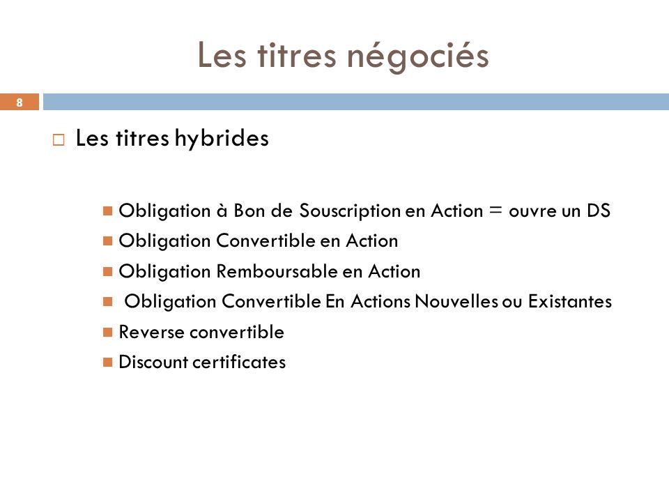 Les titres négociés Les titres hybrides