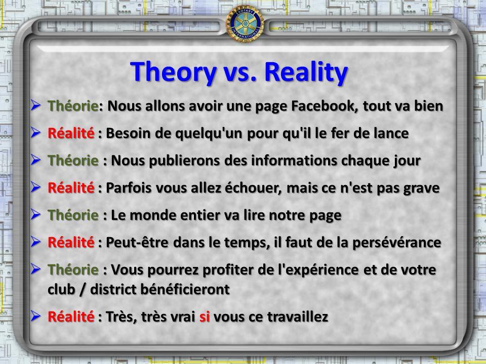 Theory vs. Reality Théorie: Nous allons avoir une page Facebook, tout va bien. Réalité : Besoin de quelqu un pour qu il le fer de lance.