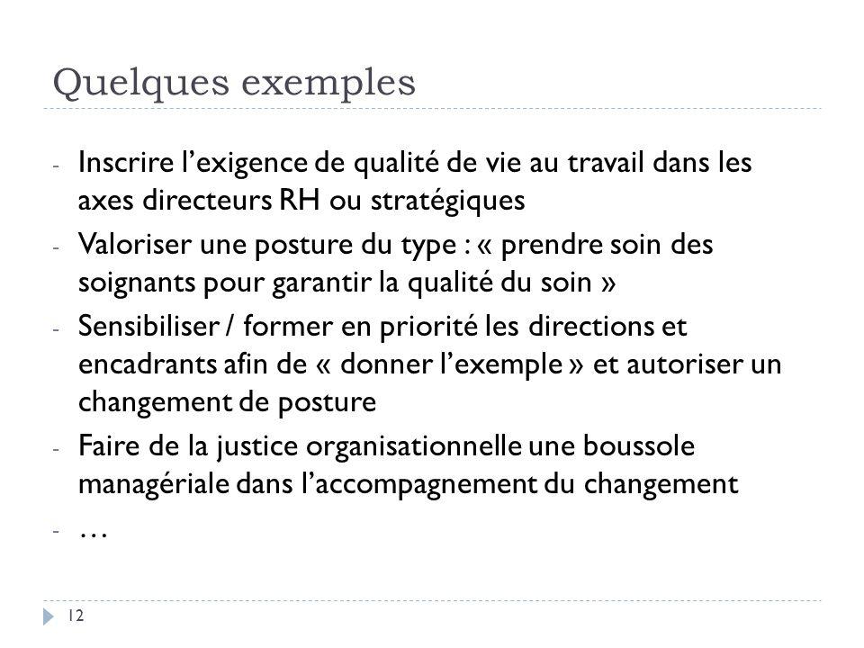 Quelques exemples Inscrire l'exigence de qualité de vie au travail dans les axes directeurs RH ou stratégiques.