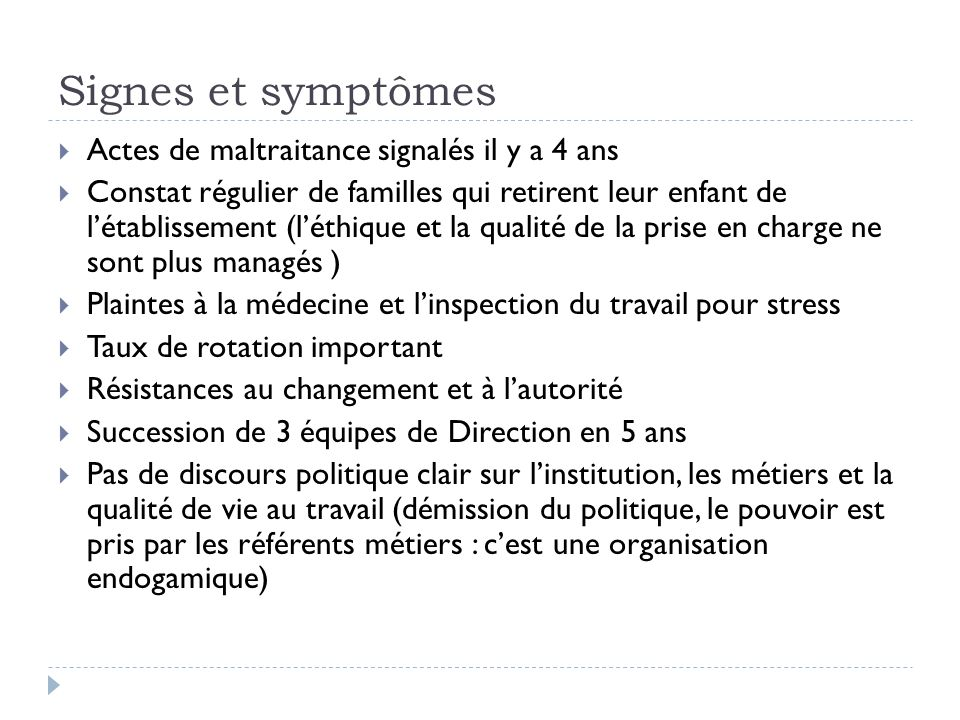 Signes et symptômes Actes de maltraitance signalés il y a 4 ans